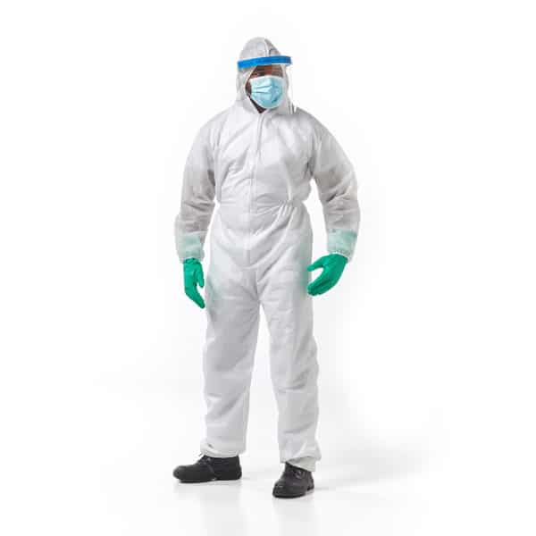 Dromex PDISPO Non Woven Spunbond Polypropylene Disposable Coverall White