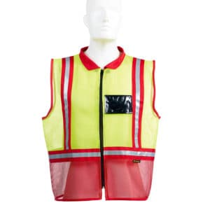 Dromex Two Tone Mesh Reflective Vest Red & Fluorescent Yellow with Collar and Zip Front