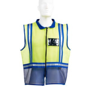 Dromex Two Tone Mesh Reflective Vest Navy Blue & Flourescent Yellow with Collar and Zip Front