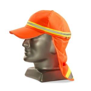 Dromex Reflective Baseball Cap With Neck Protector Fluorescent Orange